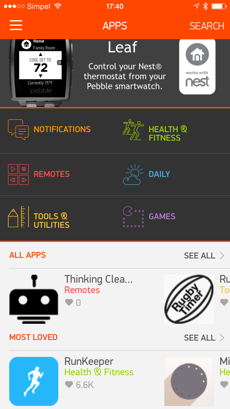 Pebble app screenshot 0