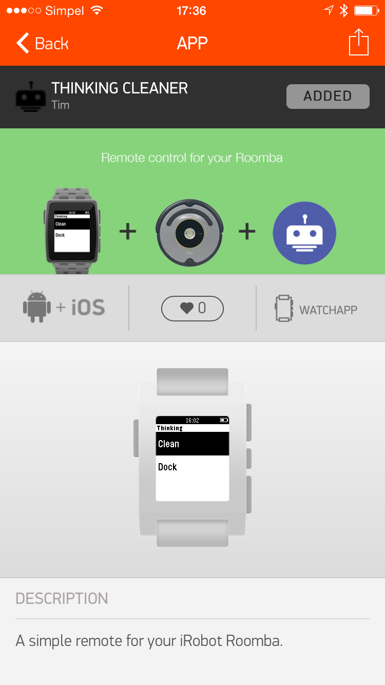 GPebble app screenshot 2